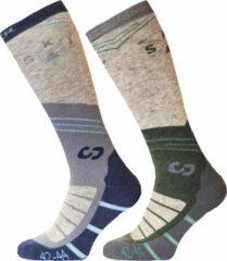 Grijze SINNER Mens Ski Socks Mountain Ski Double Pack Wintersportsokken Unisex - Maat 36-38