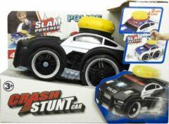 Jollity Works JollyVrooom - Crash Stunt Car - Politie - Licht en Geluid - Activatie Knop - Blauw/Wit
