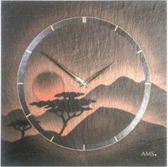 Grijze AMS Wandklok Leisteen met Airbrush 9515