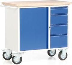 Protaurus ROTAURO Fahrbare Werkbank mit 1 Schrank und 4 Schubladen