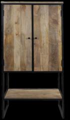 HSM Collection Kast Dublin 2-deurs - 80x40x160 - Nautrel/zwart - Mangohout/ijzer