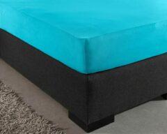 Dekbeddenwereld- hoeslaken- jersey- stretch-Lits-Jumeaux- 180x200+30cm- geschikt voor boxspring- turquoise