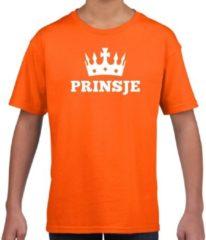 Shoppartners Oranje Prinsje met kroon t-shirt jongens - Oranje Koningsdag kleding M (134-140)