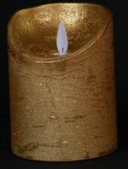 Batterijverlichting kaars wax rustiek met bewegende vlam goud 10 cm Anna's Collection