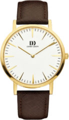 Gouden Danish Design watches unisexhorloge London White Gold/Brown Large IQ15Q1235