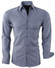 Grijze Montazinni heren overhemd geruit slim fit donker