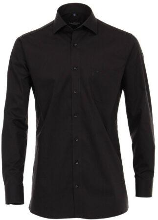 Afbeelding van Zwarte Casamoda heren overhemd strijkvrij met borstzakje regular fit