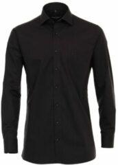 Zwarte Casamoda heren overhemd strijkvrij met borstzakje regular fit