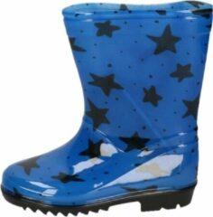 Apollo Blauwe peuter/kinder regenlaarzen blauw met zwarte sterretjes - Rubberen laarzen/regenlaarsjes voor kinderen 25