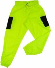 Merkloos / Sans marque La Pèra Groene cargobroek met zwarte zakken Stoere fashion broek met elastische band - Maat S