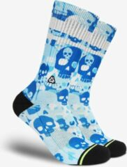 Blauwe FLINCK Sportsokken - Skull Camo Delft Blue Crossfit Sokken 39-41