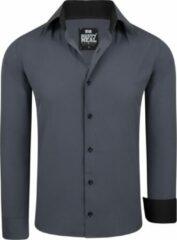 Antraciet-grijze Merkloos / Sans marque Rusty Neal heren overhemd basic antraciet