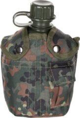 MFH US Army kunststof veldfles, 1 liter, hoes, BW vlekcamouflage, BPA-vrij