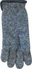 Grijze Clausy Handschoenen dames van 100% wol en met echt leren randje