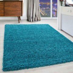 Modica Tappeto Hoogpolige Vloerkleed Plus Shaggy Turquoise 120 X 170 Cm