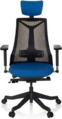Hjh OFFICE Falun - Professionele bureaustoel - Blauw / Zwart - stof / netstof
