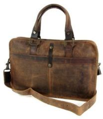 "BARBAROSSA Used look leren 13"" laptoptas business tas werktas RUVIDO Coffee"