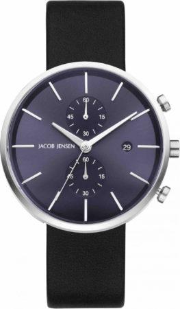 Afbeelding van Zilveren Jacob Jensen chronograaf herenhorloge Linear 621