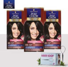 Schwarzkopf Poly Color Creme Haarverf - 45 Zwart - 3 Pack Voordeelverpakking - Gratis Haarloop