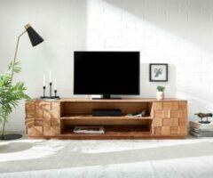Naturelkleurige DELIFE TV-meubel Grace acacia natuur 200x40 cm handgemaakt massief hout