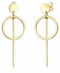Gouden Elli Dames Oorbellen Dames Cirkel Hanger Trend in 925 Sterling Zilver