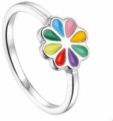 Paarse Huiscollectie Ring Bloem Zilver Gerhodineerd maat 41