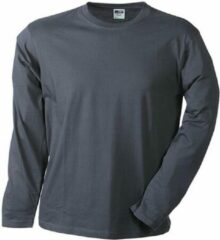 James & Nicholson James and Nicholson - Heren Medium Lange Mouwen T-Shirt (Donkergrijs)