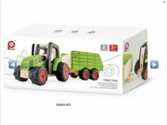 Groene Tractor met aanhanger, merk pintoy