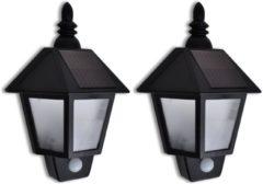 Zwarte VidaXL Muurlamp op zonne-energie met bewegingssensor (2 stuks)