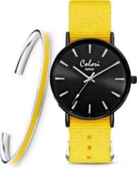 Colori XOXO 5 COL552 Horloge geschenkset met Armband - Nato Band - Ø 36 mm - Geel / Zwart