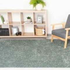 Fraai Hoogpolig vloerkleed - Solid Blauw/Groen 300x400cm