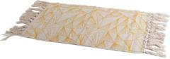 Gele/naturel hammam stijl badmat 45 x 70 cm rechthoekig - Geometrische print - Badmatten - Badkamerkleedje
