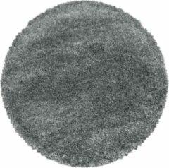 Licht-grijze Impression Himalaya Pearl Soft Rond Shaggy Hoogpolig Vloerkleed Lichtgrijs - 120 CM ROND