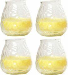 Gele Cosy&Trendy 4x Citronella lowboy tuin/huis kaarsen in glas 10 cm - Binnen/buiten kaarsen - Anti muggen/insecten artikelen