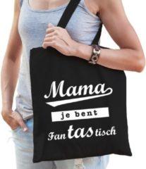 Shoppartners Cadeau tas zwart katoen met de tekst Mama je bent fanTAStisch - kadotasje voor moeders