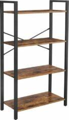 VASAGLE boekenplank, staande plank, ladderrek, woonkamerplank, 4 planken, stabiel ijzeren frame, slaapkamer, kantoor, industrieel ontwerp, vintage, donkerbruin