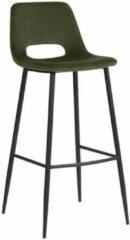 Donkergroene LABEL51 Barkruk 'Josh', Fluweel, 107cm, kleur Groen