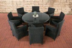 CLP Gartengarnitur LARINO XL Sitzgruppe mit 8 Sitzplätzen Gartenmöbel-Set aus Polyrattan Pflegeleichte Gartenmöbel mit Aluminium-Untergestell In v