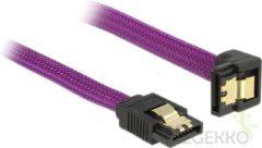 Paarse SATA600 kabel - hoge kwaliteit - haaks naar beneden - 0,20 meter