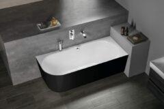Polysan Sussi half vrijstaand bad rechts 159.5x70cm zwart/wit