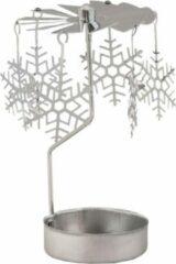 Blauwe Clayre & Eef Metalen en Glazen Wa x inelichthouder sneeuwvlok doorsnede: 9 x 13 cm zilver - 62760