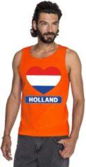 Shoppartners Oranje Holland hart vlag tanktop shirt/ singlet heren - Oranje Koningsdag/ Holland supporter kleding 2XL