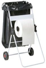 Witte Rossignol Bobino mobiele stalen jumbo rol dispenser met vuilniszak houder