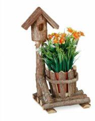 Bruine Relaxdays bloempot hout - met vogelhuis - houten sierpot - plantenpot - binnenpot - boom