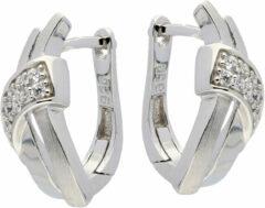 Elegance Zilveren Oorbellen klapcreolen met zirconia 107.6155.00