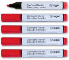 Glasboardmarker Sigel 2-3mm ronde punt 5 stuks in etui rood SI-GL713