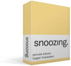 Snoozing Percale Katoen Topper Hoeslaken - 100% Percale Katoen - Lits-jumeaux (160x200 Cm) - Geel