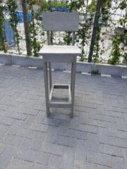 Grijze KSM-Steigerhout 2 x barkruk Back van Grey Wash steigerhout, voor bij een bar tafel / sta tafel