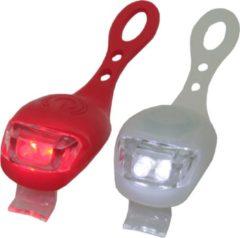 Ben Tools 2x LED fietsverlichting/lampen set siliconen voor en achter - Fiets verlichting en accessoires