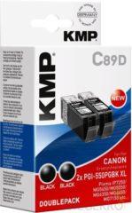 KMP Inkt vervangt Canon PGI-550BK, PGI-550BK XL Compatibel 2-pack Zwart C89D 1518,0021